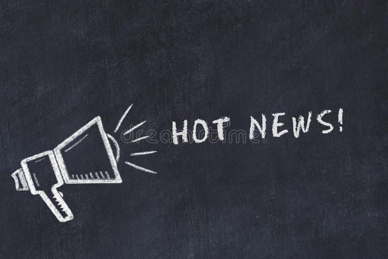 Σκίτσο πινάκων κιμωλίας με τις καυτές ειδήσεις μεγάφωνων και φράσης διανυσματική απεικόνιση