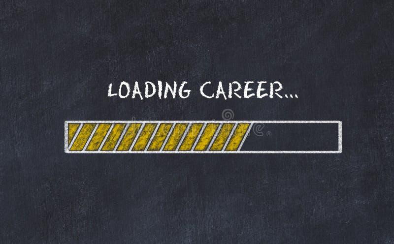 Σκίτσο πινάκων κιμωλίας με το φραγμό προόδου και τη σταδιοδρομία φόρτ διανυσματική απεικόνιση