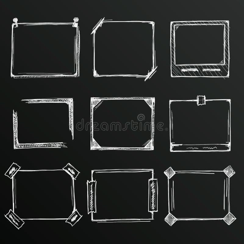 Σκίτσο πινάκων κιμωλίας συρμένου του χέρι συνόλου πλαισίων, στοιχείο σχεδίου προτύπων, διανυσματική απεικόνιση διανυσματική απεικόνιση
