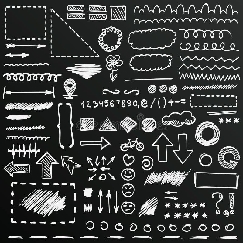 Σκίτσο πινάκων κιμωλίας συρμένων των χέρι σημαδιών καθορισμένων, διανυσματική απεικόνιση απεικόνιση αποθεμάτων