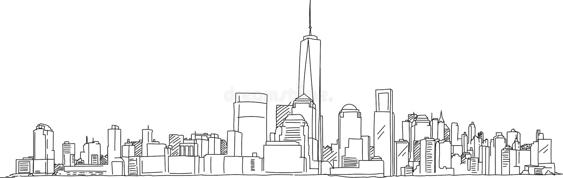 Σκίτσο πράσινων φώτων της Νέας Υόρκης Μανχάταν στοκ εικόνες με δικαίωμα ελεύθερης χρήσης