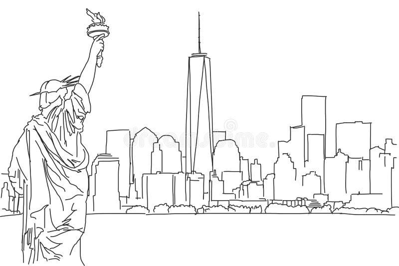 Σκίτσο πράσινων φώτων του ορίζοντα πόλεων της Νέας Υόρκης Διανυσματική κακογραφία απεικόνιση αποθεμάτων