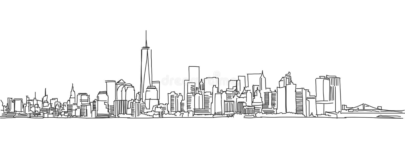 Σκίτσο πράσινων φώτων του ορίζοντα πόλεων της Νέας Υόρκης Διανυσματική κακογραφία ελεύθερη απεικόνιση δικαιώματος