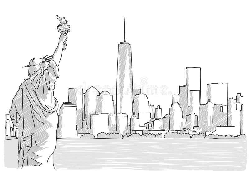 Σκίτσο πράσινων φώτων του ορίζοντα πόλεων της Νέας Υόρκης με το άγαλμα της ελευθερίας ελεύθερη απεικόνιση δικαιώματος