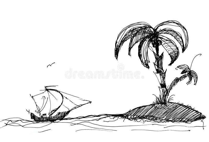 σκίτσο σκαφών νησιών διανυσματική απεικόνιση