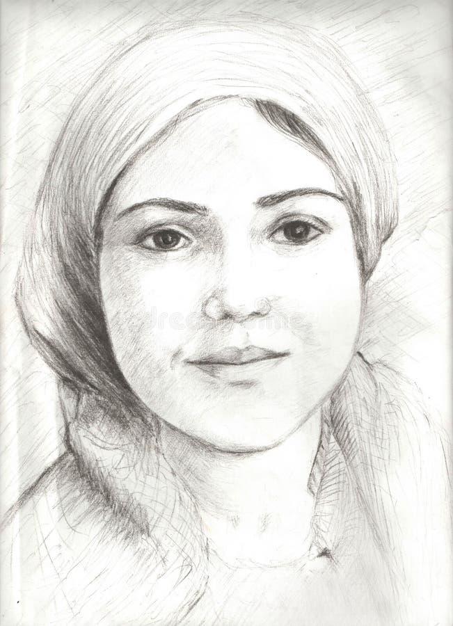 Σκίτσο στο μολύβι ενός κοριτσιού ομορφιάς διανυσματική απεικόνιση