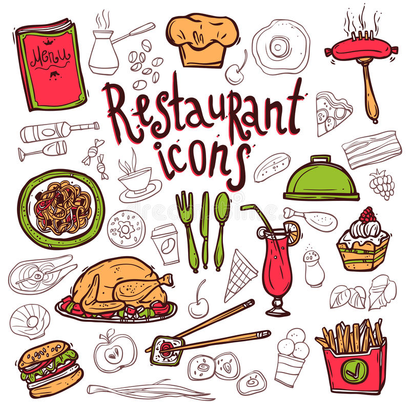 Σκίτσο συμβόλων εικονιδίων εστιατορίων doodle απεικόνιση αποθεμάτων