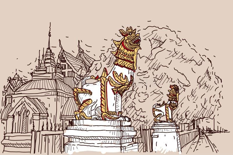 Σκίτσο σχεδίων πόλεων scape στην Ταϊλάνδη στο ναό Prasat, scu λιονταριών απεικόνιση αποθεμάτων