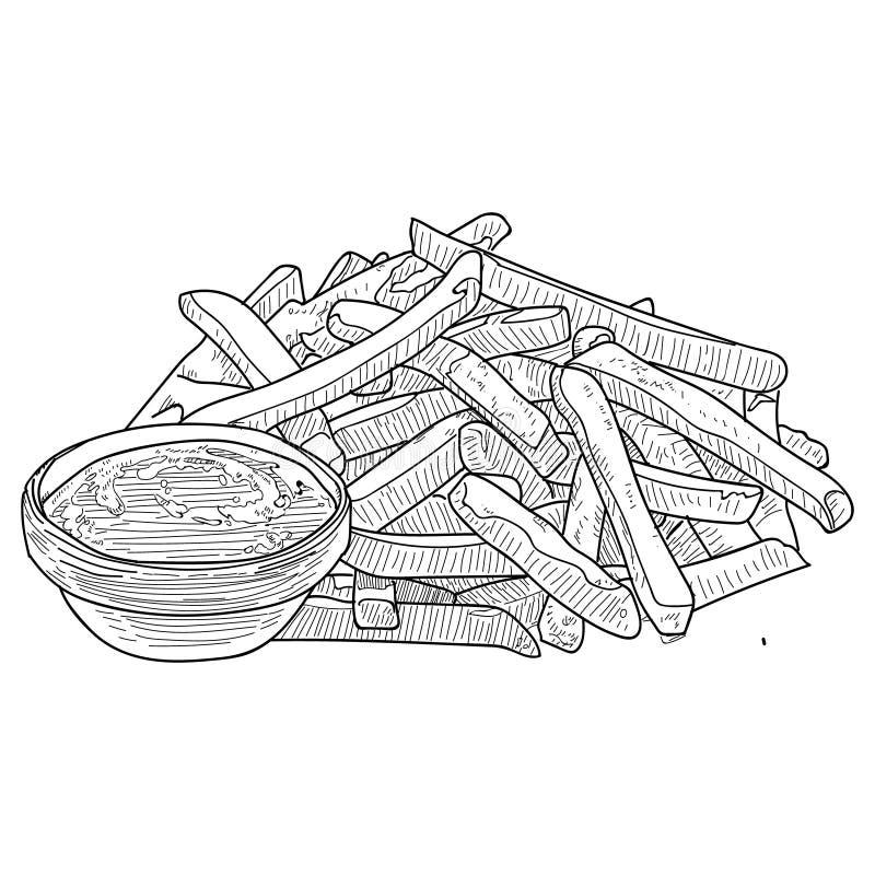 Σκίτσο τηγανιτών πατατών, συρμένη χέρι ΔΙΑΝΥΣΜΑΤΙΚΗ απεικόνιση γρήγορου φαγητού Τηγανιτές πατάτες στη συσκευασία και σε μεγάλη πο ελεύθερη απεικόνιση δικαιώματος