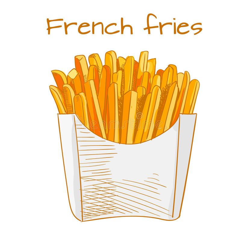 Σκίτσο τηγανιτών πατατών, συρμένη χέρι ΔΙΑΝΥΣΜΑΤΙΚΗ απεικόνιση γρήγορου φαγητού Χρωματισμένο σκίτσο διανυσματική απεικόνιση
