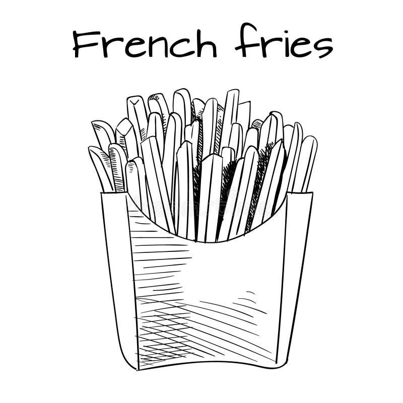 Σκίτσο τηγανιτών πατατών, συρμένο χέρι ΔΙΑΝΥΣΜΑΤΙΚΟ illustrtion γρήγορου φαγητού Σκίτσο περιλήψεων μαύρες γραμμές διανυσματική απεικόνιση