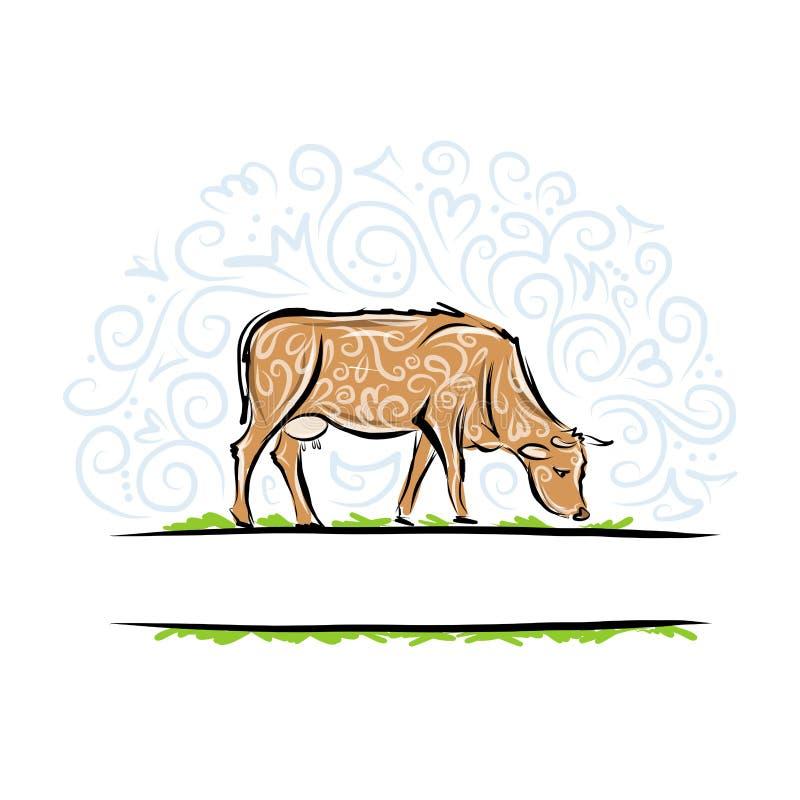 Σκίτσο της διακοσμητικής αγελάδας για το σχέδιό σας διανυσματική απεικόνιση