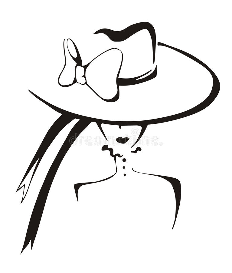 Σκίτσο της κομψής γυναίκας στο καπέλο διανυσματική απεικόνιση