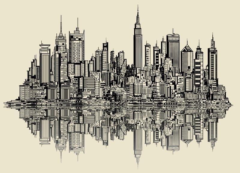 Σκίτσο της Νέας Υόρκης ελεύθερη απεικόνιση δικαιώματος