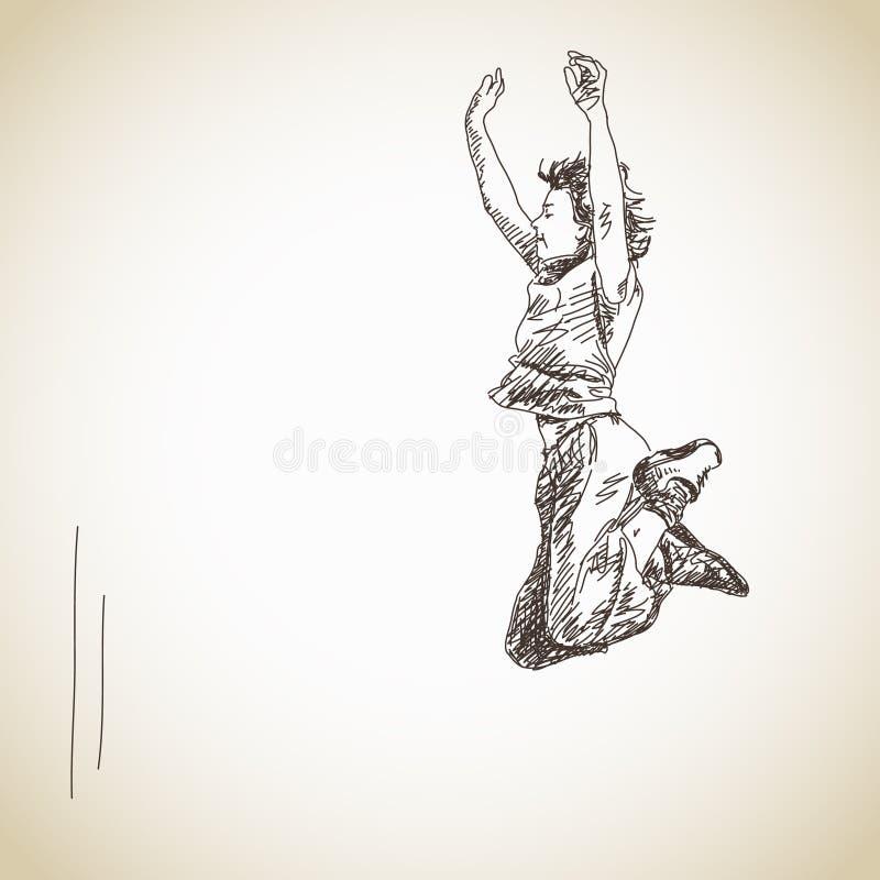Σκίτσο της πηδώντας γυναίκας ελεύθερη απεικόνιση δικαιώματος