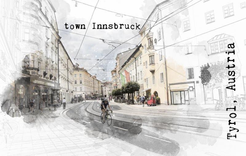 Σκίτσο του αυστριακού ταξιδιού ελεύθερη απεικόνιση δικαιώματος