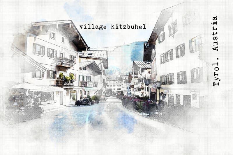 Σκίτσο του αυστριακού ταξιδιού απεικόνιση αποθεμάτων