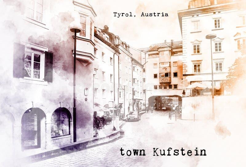 Σκίτσο του αυστριακού ταξιδιού διανυσματική απεικόνιση