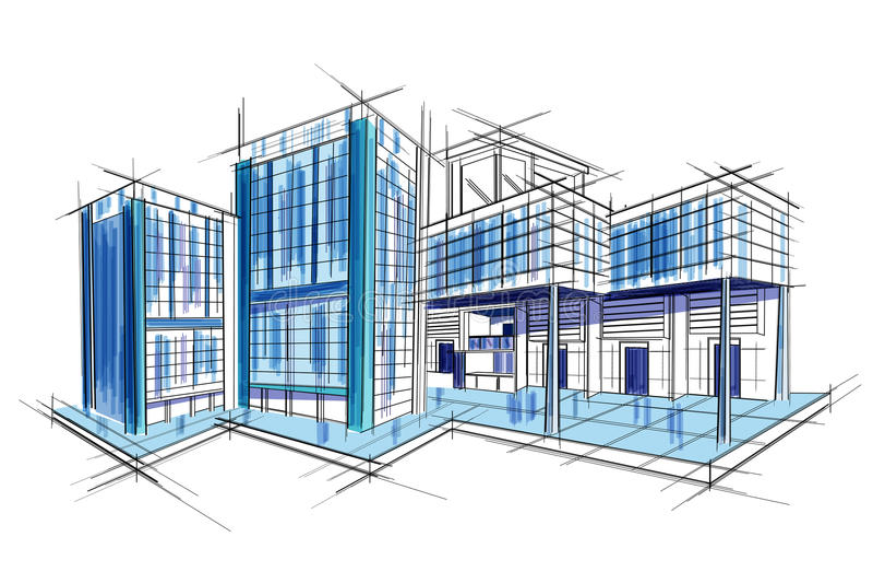 Σκίτσο του εξωτερικού σχεδίου σχεδιαγραμμάτων σχεδίων οικοδόμησης διανυσματική απεικόνιση
