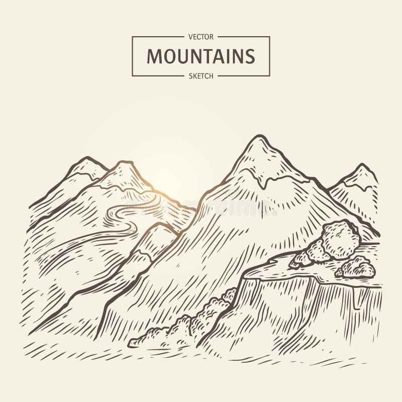 Σκίτσο του τοπίου βουνών Διανυσματική σκιαγραφία ορεινών περιοχών με τους βράχους ύψους απεικόνιση αποθεμάτων
