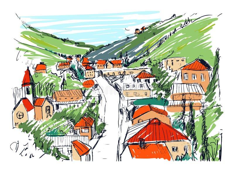 Σκίτσο του τοπίου βουνών το της Γεωργίας χρωματισμένο πόλη χέρι που σύρεται με Όμορφο μονοχρωματικό σχέδιο με τα κτήρια και διανυσματική απεικόνιση
