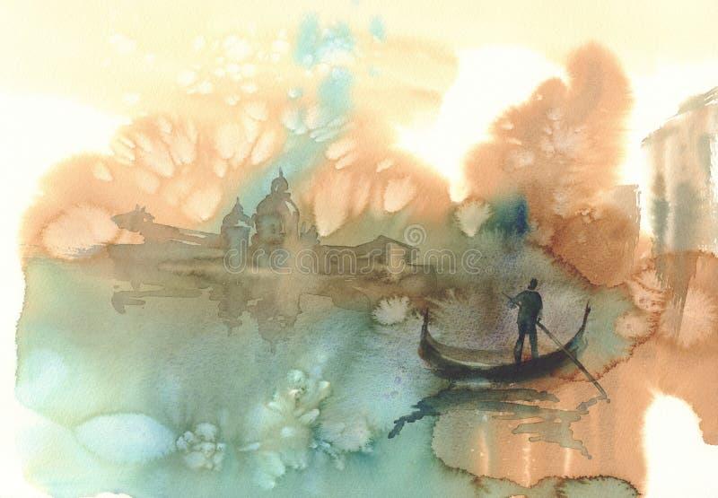 Σκίτσο του watercolor της Βενετίας διανυσματική απεικόνιση