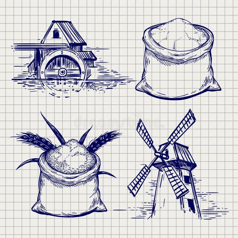 Σκίτσο τσαντών μύλων, σίτου και αλευριού διανυσματική απεικόνιση