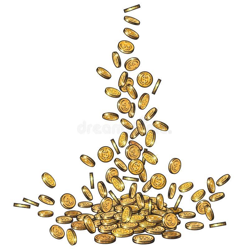 Σκίτσο των μειωμένων χρυσών νομισμάτων, ρέοντας κορυφή χρημάτων κάτω, μεγάλος σωρός των μετρητών, πολλά χρήματα, έννοια θησαυρών  ελεύθερη απεικόνιση δικαιώματος