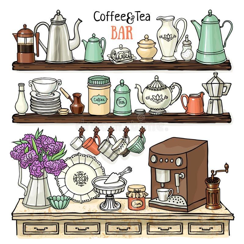 Σκίτσο των δοχείων, φλυτζάνια, μηχανή καφέ στο ντουλάπι Πιάτα στα ράφια ελεύθερη απεικόνιση δικαιώματος