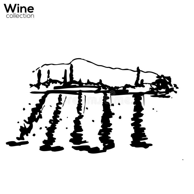 Σκίτσο χεριών ναυπηγείων κρασιού διανυσματική απεικόνιση