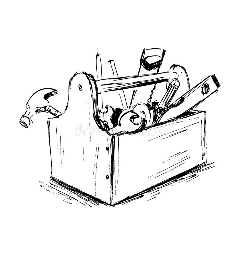 Σκίτσο χεριών το κιβώτιο με τα εργαλεία