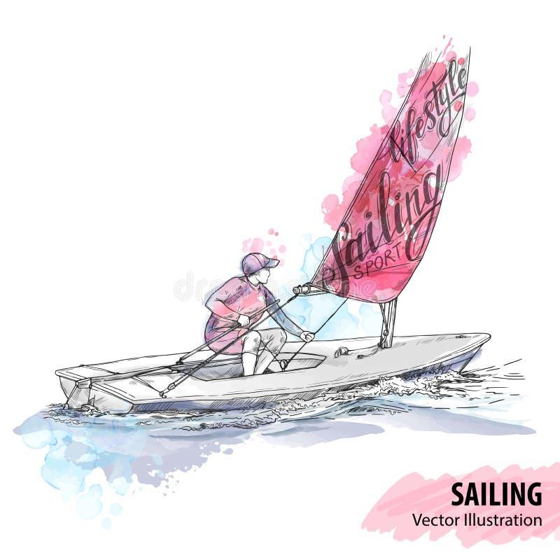 Σκίτσο χεριών των γυναικών στην πλέοντας βάρκα στη θάλασσα Διανυσματική αθλητική απεικόνιση Σκιαγραφία Watercolor του γιοτ με θεμ απεικόνιση αποθεμάτων