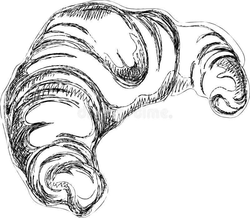 Σκίτσο Croissant ελεύθερη απεικόνιση δικαιώματος