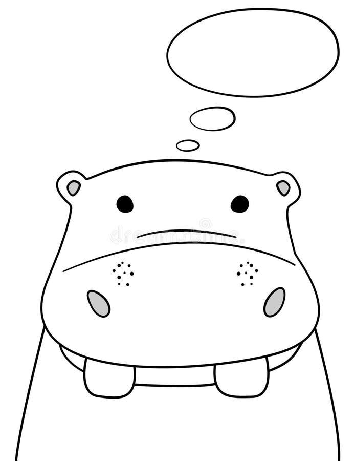 Σκίτσο Hippo Doodle με τη σκεπτόμενη διανυσματική απεικόνιση σύννεφων Hippopotamus κινούμενων σχεδίων με τη σκέψη της φυσαλίδας Ά απεικόνιση αποθεμάτων