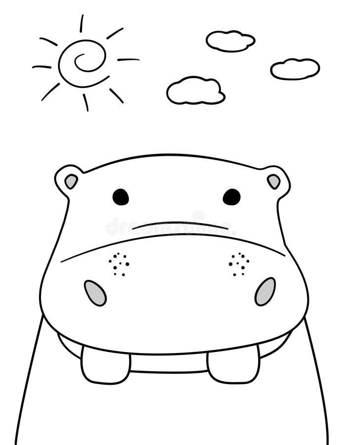 Σκίτσο Hippo Doodle με τον ήλιο και την απεικόνιση σύννεφων Διανυσματικό hippopotamus κινούμενων σχεδίων Ύφος Doodle Άγριο ζώο θη διανυσματική απεικόνιση