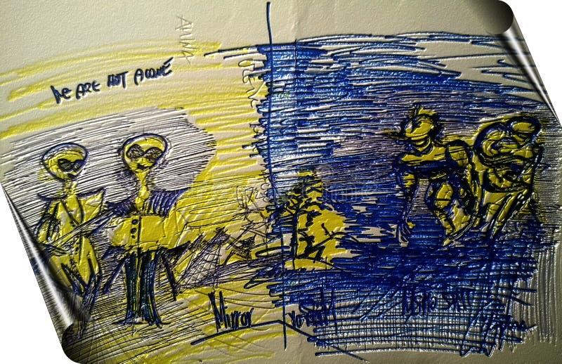 Σκίτσο Mann Kroki στον καθρέφτη στοκ εικόνα