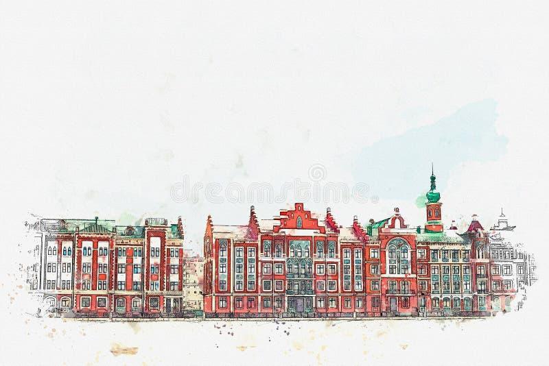 Σκίτσο Watercolor ή απεικόνιση της παραδοσιακής ευρωπαϊκής αρχιτεκτονικής στο βελγικό ύφος απεικόνιση αποθεμάτων