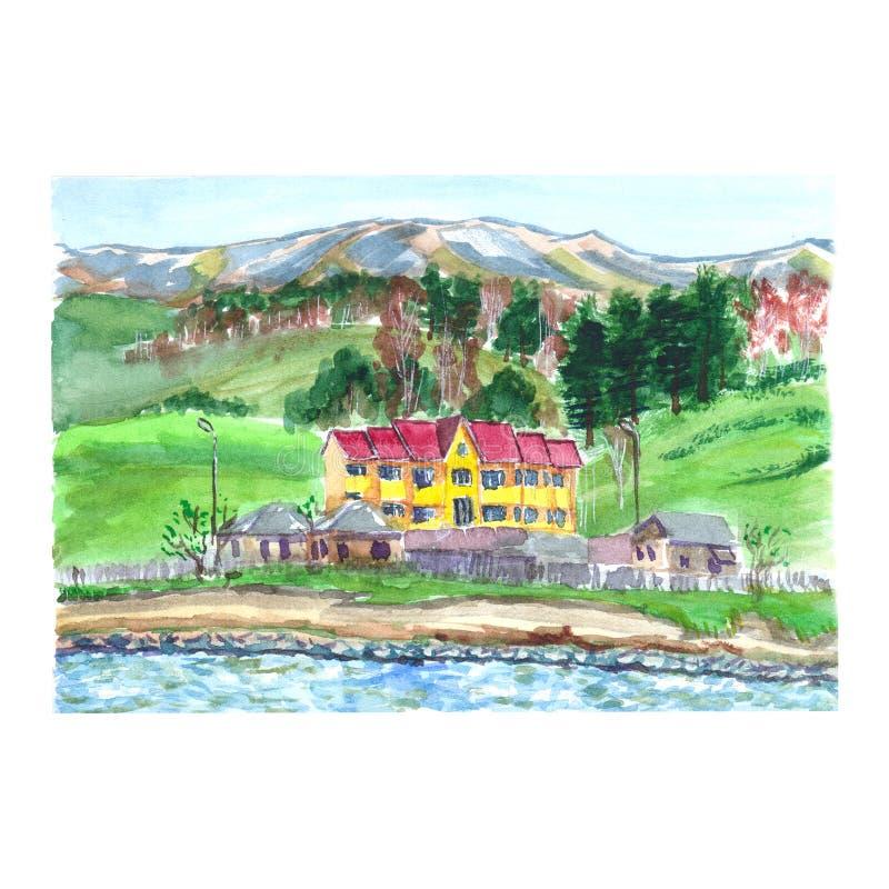 Σκίτσο Watercolor ενός σπιτιού σε ένα κλίμα των βουνών απεικόνιση αποθεμάτων