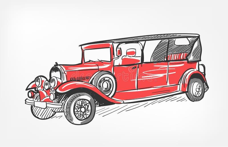 Σκίτσων διανυσματικό κόκκινο αυτοκινήτων απεικόνισης αναδρομικό που απομονώνεται ελεύθερη απεικόνιση δικαιώματος