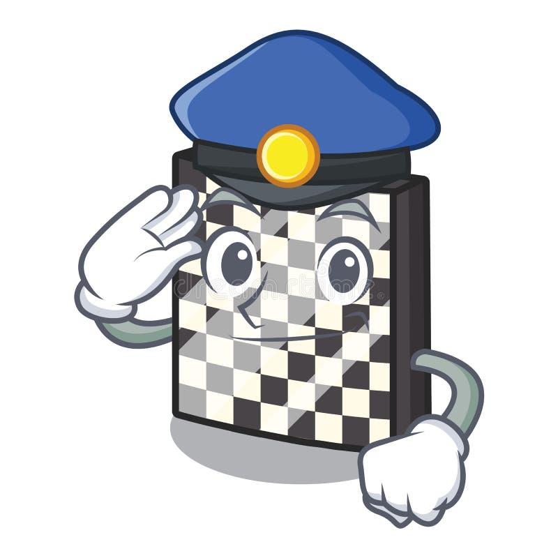Σκακιέρα αστυνομίας με σε μια μασκότ ελεύθερη απεικόνιση δικαιώματος