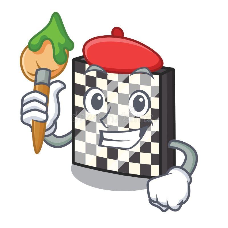 Σκακιέρα καλλιτεχνών με σε μια μασκότ διανυσματική απεικόνιση