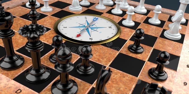 Σκακιέρα με την πυξίδα διανυσματική απεικόνιση
