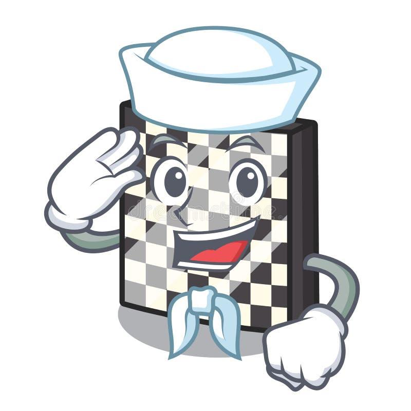 Σκακιέρα ναυτικών με σε μια μασκότ διανυσματική απεικόνιση
