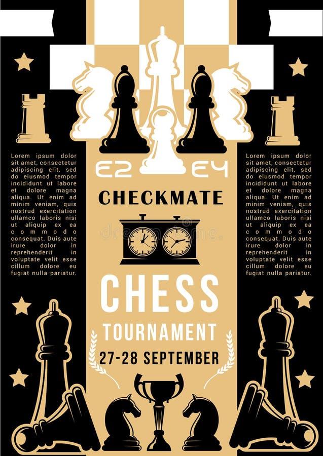 Σκακιέρα παιχνιδιών σκακιού με τα κομμάτια απεικόνιση αποθεμάτων