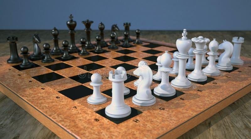 Σκακιέρα στον ξύλινο πίνακα διανυσματική απεικόνιση