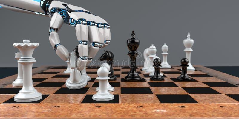 Σκακιέρα χεριών ρομπότ διανυσματική απεικόνιση