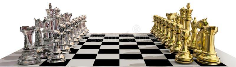 Σκακιού τρισδιάστατη απόδοση ενέχυρων έναρξης χρυσή απεικόνιση αποθεμάτων