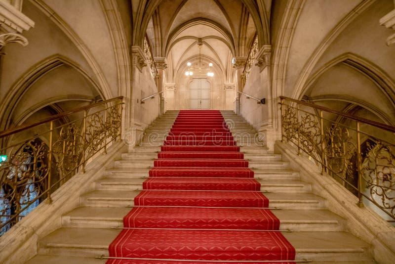 Σκαλοπάτια εορτασμού στη Βιέννη Δημαρχείο, Αυστρία στοκ εικόνες