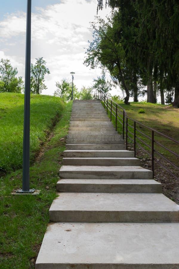 Σκαλοπάτια που ανεβαίνουν σε πράσινο πάρκο στοκ φωτογραφίες με δικαίωμα ελεύθερης χρήσης