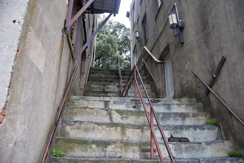 Σκαλοπάτια που οδηγούν στον περίπατο ανατολικών χαμηλότερα εργοστασίων στοκ εικόνες